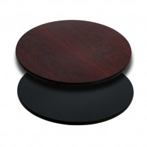 Flash Furniture XU-RD-30-MBT-GG Round Table Top with Black or Mahogany Reversible Laminate Top 30""