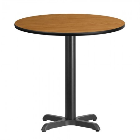 "Flash Furniture XU-RD-30-NATTB-T2222-GG 30"" Round Natural Laminate Table Top with 22"" x 22"" Table Height Base"