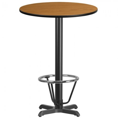 """Flash Furniture XU-RD-30-NATTB-T2222B-3CFR-GG 30"""" Round Natural Laminate Table Top with 22"""" x 22"""" Bar Height Table Base and Foot Ring"""