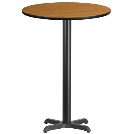"Flash Furniture XU-RD-30-NATTB-T2222B-GG 30"" Round Natural Laminate Table Top with 22"" x 22"" Bar Height Table Base"