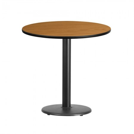 """Flash Furniture XU-RD-30-NATTB-TR18-GG 30"""" Round Natural Laminate Table Top with 18"""" Round Table Height Base"""
