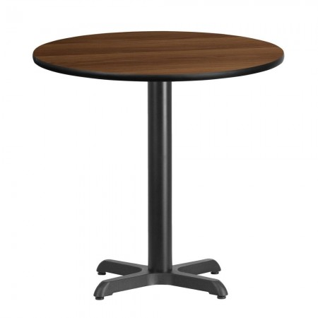 """Flash Furniture XU-RD-30-WALTB-T2222-GG 30"""" Round Walnut Laminate Table Top with 22"""" x 22"""" Table Height Base"""
