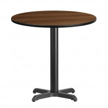 Flash Furniture XU-RD-30-WALTB-T2222-GG 30 Round Walnut Laminate Table Top with 22 x 22 Table Height Base