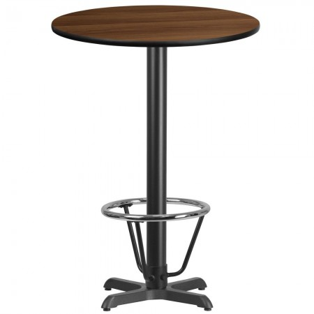 "Flash Furniture XU-RD-30-WALTB-T2222B-3CFR-GG 30"" Round Walnut Laminate Table Top with 22"" x 22"" Bar Height Table Base and Foot Ring"