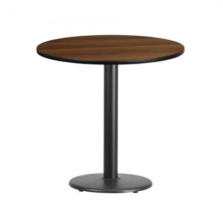 """Flash Furniture XU-RD-30-WALTB-TR18-GG 30"""" Round Walnut Laminate Table Top with 18"""" Round Table Height Base"""