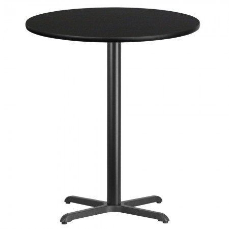 """Flash Furniture XU-RD-36-BLKTB-T3030B-GG Round Black Laminate 36"""" Table Top with 30"""" x 30"""" Bar Height Table Base"""