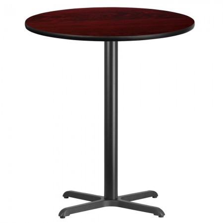"Flash Furniture XU-RD-36-MAHTB-T3030B-GG Round Mahogany Laminate 36"" Table Top with 30"" x 30"" Bar Height Table Base"