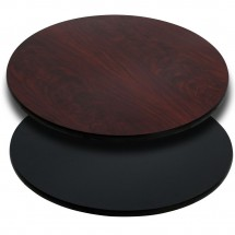 Flash Furniture XU-RD-36-MBT-GG Round Table Top with Black or Mahogany Reversible Laminate Top 36""