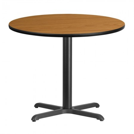 """Flash Furniture XU-RD-36-NATTB-T3030-GG Round Natural Laminate 36"""" Table Top with 30"""" x 30"""" Table Height Base"""