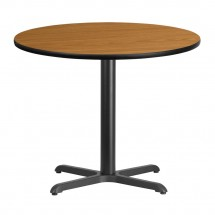 Flash Furniture XU-RD-36-NATTB-T3030-GG Round Natural Laminate 36 Table Top with 30 x 30 Table Height Base