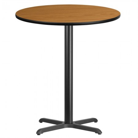 "Flash Furniture XU-RD-36-NATTB-T3030B-GG Round Natural Laminate 36"" Table Top with 30"" x 30"" Bar Height Table Base"