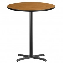 Flash Furniture XU-RD-36-NATTB-T3030B-GG Round Natural Laminate 36 Table Top with 30 x 30 Bar Height Table Base
