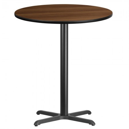 "Flash Furniture XU-RD-36-WALTB-T3030B-GG Round Walnut Laminate 36"" Table Top with 30"" x 30"" Bar Height Table Base"