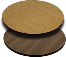 Flash Furniture XU-RD-36-WNT-GG Round Table Top with Natural or Walnut Reversible Laminate Top 36""