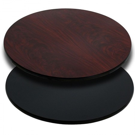 """Flash Furniture XU-RD-42-MBT-GG Round 42"""" Table Top with Black or Mahogany Reversible Laminate Top"""