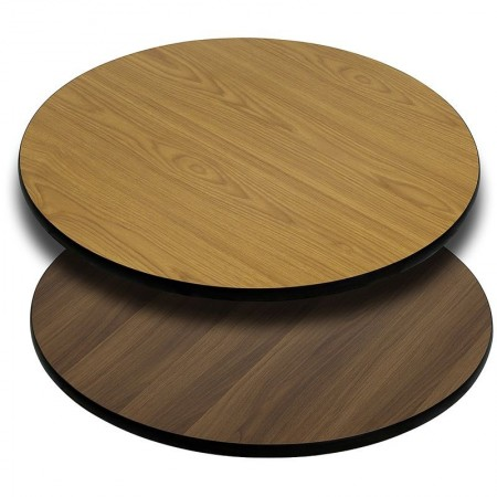 """Flash Furniture XU-RD-42-WNT-GG Round 42"""" Table Top with Natural or Walnut Reversible Laminate Top"""