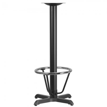 """Flash Furniture XU-T2222-BAR-3CFR-GG 22"""" x 22"""" Restaurant Table X-Base with 3"""" Dia. Bar Height Column and Foot Ring"""