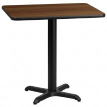 Flash Furniture XU-WALTB-2430-T2222-GG 24 x 30 Rectangular Walnut Laminate Table Top with 22 x 22 Table Height Base