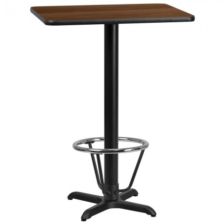 "Flash Furniture XU-WALTB-2430-T2222B-3CFR-GG 24"" x 30"" Rectangular Walnut Laminate Table Top with 22"" x 22"" Bar Height Table Base and Foot Ring"