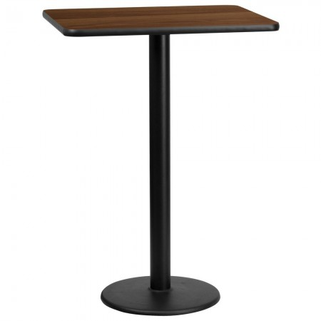 "Flash Furniture XU-WALTB-2430-TR18B-GG 24"" x 30"" Rectangular Walnut Laminate Table Top with 18"" Round Bar Height Table Base"