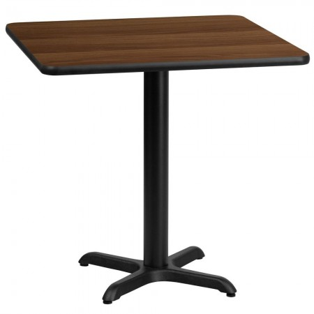 """Flash Furniture XU-WALTB-3030-T2222-GG 30"""" Square Walnut Laminate Table Top with 22"""" x 22"""" Table Height Base"""