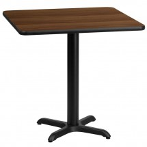 Flash Furniture XU-WALTB-3030-T2222-GG 30 Square Walnut Laminate Table Top with 22 x 22 Table Height Base