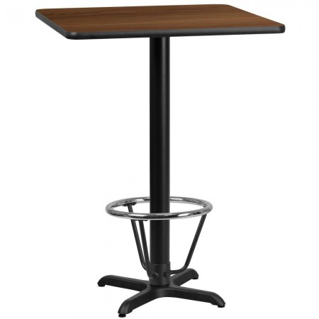 "Flash Furniture XU-WALTB-3030-T2222B-3CFR-GG 30"" Square Walnut Laminate Table Top with 22"" x 22"" Bar Height Table Base and Foot Ring"