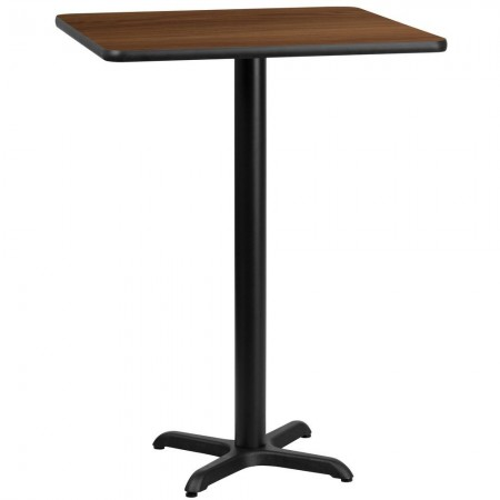 "Flash Furniture XU-WALTB-3030-T2222B-GG 30"" Square Walnut Laminate Table Top with 22"" x 22"" Bar Height Table Base"