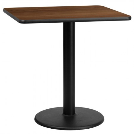 "Flash Furniture XU-WALTB-3030-TR18-GG 30"" Square Walnut Laminate Table Top with 18"" Round Table Height Base"