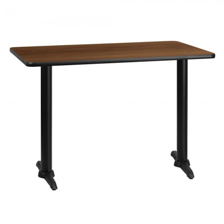 """Flash Furniture XU-WALTB-3042-T0522-GG 30"""" x 42"""" Rectangular Walnut Laminate Table Top with 5"""" x 22"""" Table Height Bases"""