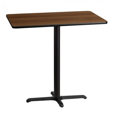 "Flash Furniture XU-WALTB-3042-T2230B-GG 30"" x 42"" Rectangular Walnut Laminate Table Top with 22"" x 30"" Bar Height Table Base"