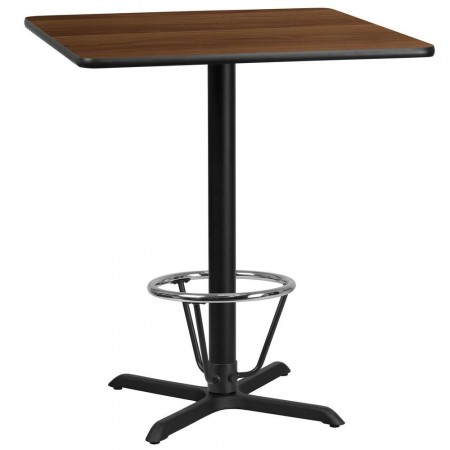 """Flash Furniture XU-WALTB-3636-T3030B-3CFR-GG 36"""" Square Walnut Laminate Table Top with 30"""" x 30"""" Bar Height Table Base and Foot Ring"""