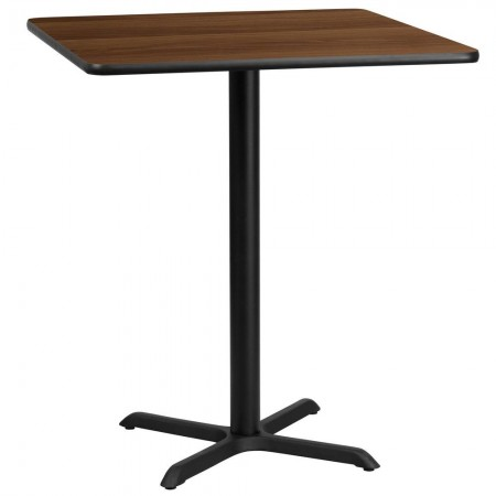 "Flash Furniture XU-WALTB-3636-T3030B-GG 36"" Square Walnut Laminate Table Top with 30"" x 30"" Bar Height Table Base"