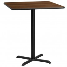 Flash Furniture XU-WALTB-3636-T3030B-GG 36 Square Walnut Laminate Table Top with 30 x 30 Bar Height Table Base