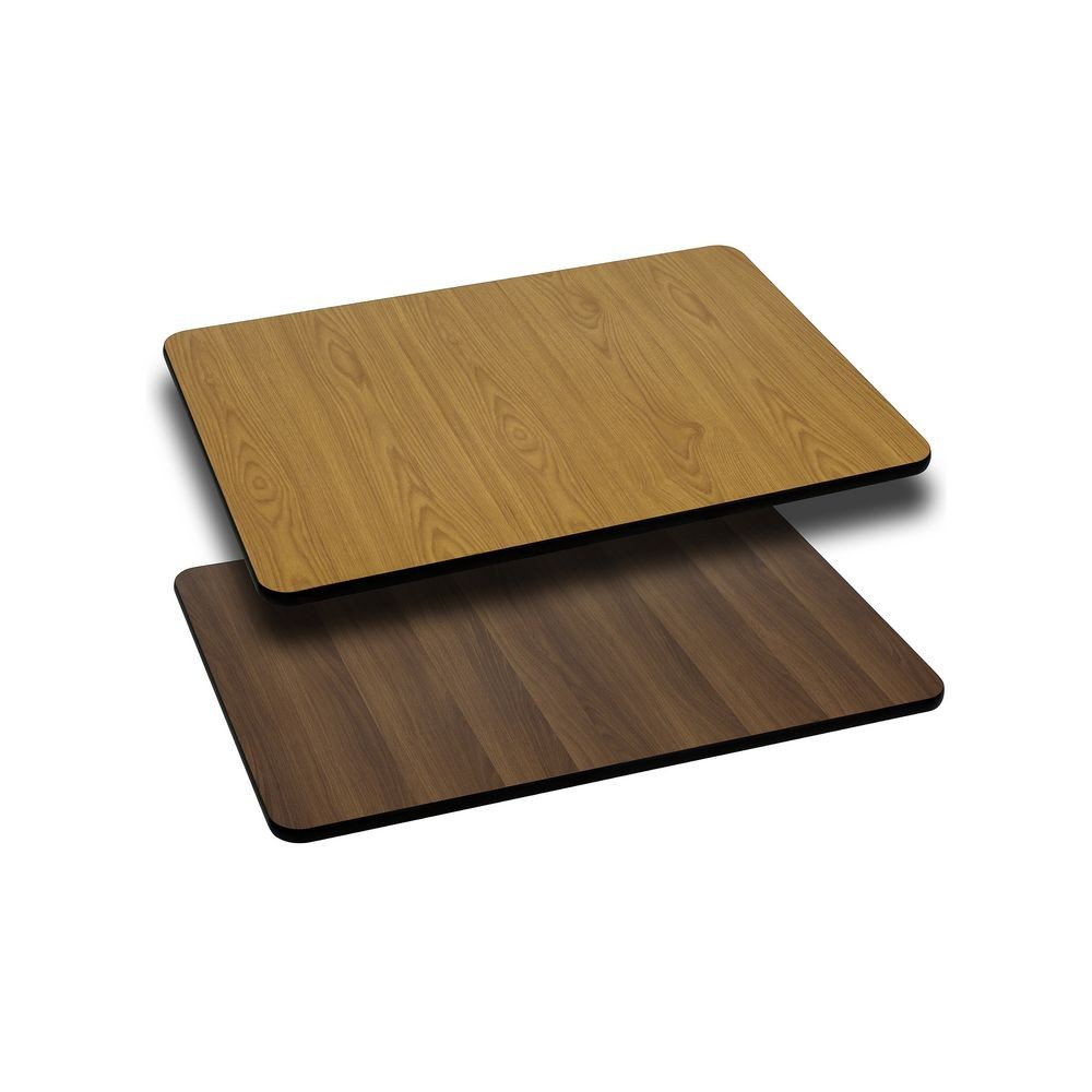 Flash Furniture XU-WNT-2430-GG 24'' x 30'' Rectangular Table Top with Natural or Walnut Reversible Laminate Top