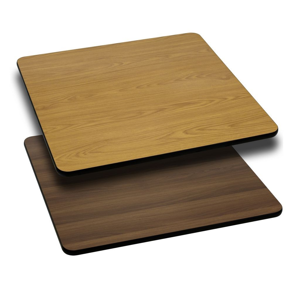 Flash Furniture XU-WNT-3030-GG 30'' Square Table Top with Natural or Walnut Reversible Laminate Top