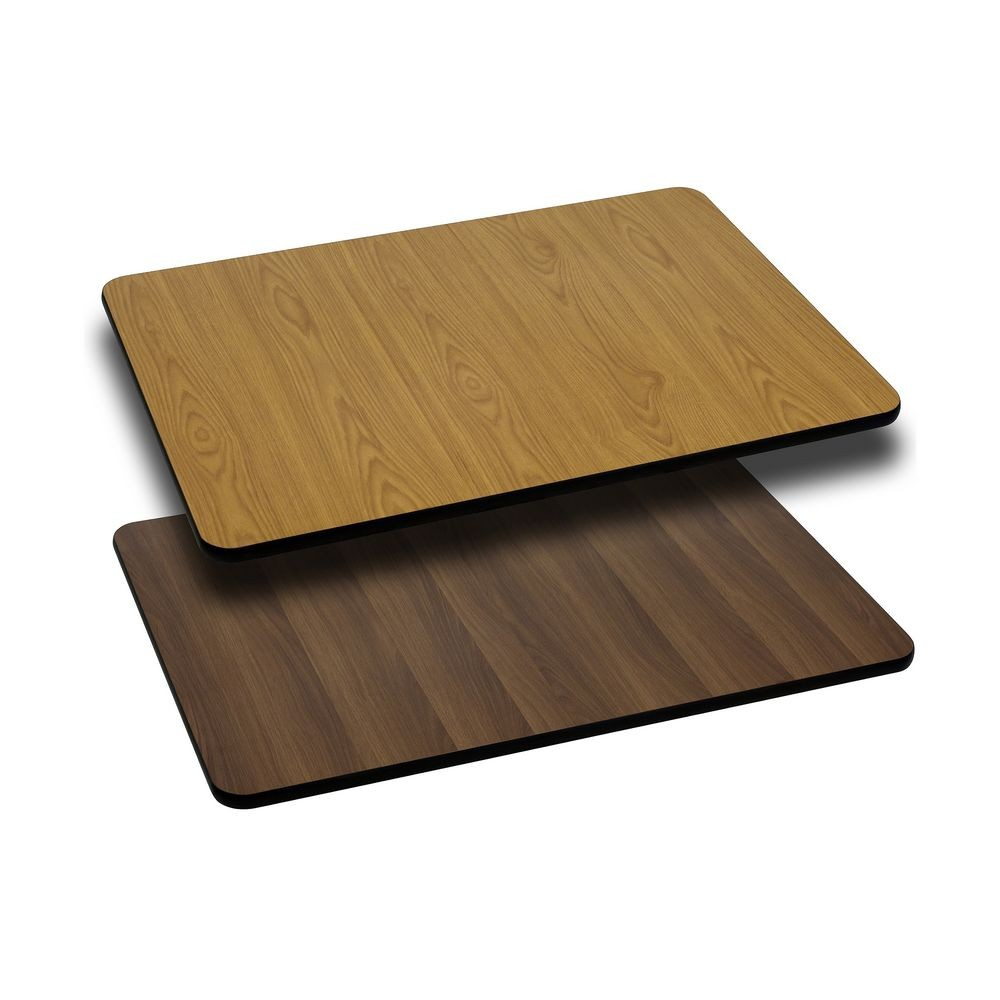 Flash Furniture XU-WNT-3045-GG 30'' x 45'' Rectangular Table Top with Natural or Walnut Reversible Laminate Top