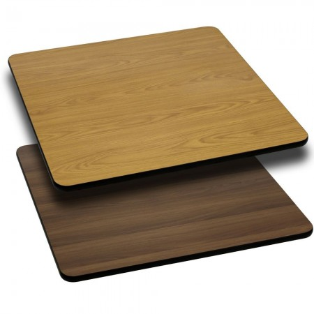"Flash Furniture XU-WNT-4242-GG 42"" Square Table Top with Natural or Walnut Reversible Laminate Top"