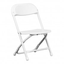 Flash Furniture Y-KID-WH-GG Kids White Plastic Folding Chair