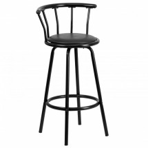 Flash Furniture YB-Y-J909-KD-GG Black Crown Back Metal Bar Stool with Black Vinyl Swivel Seat