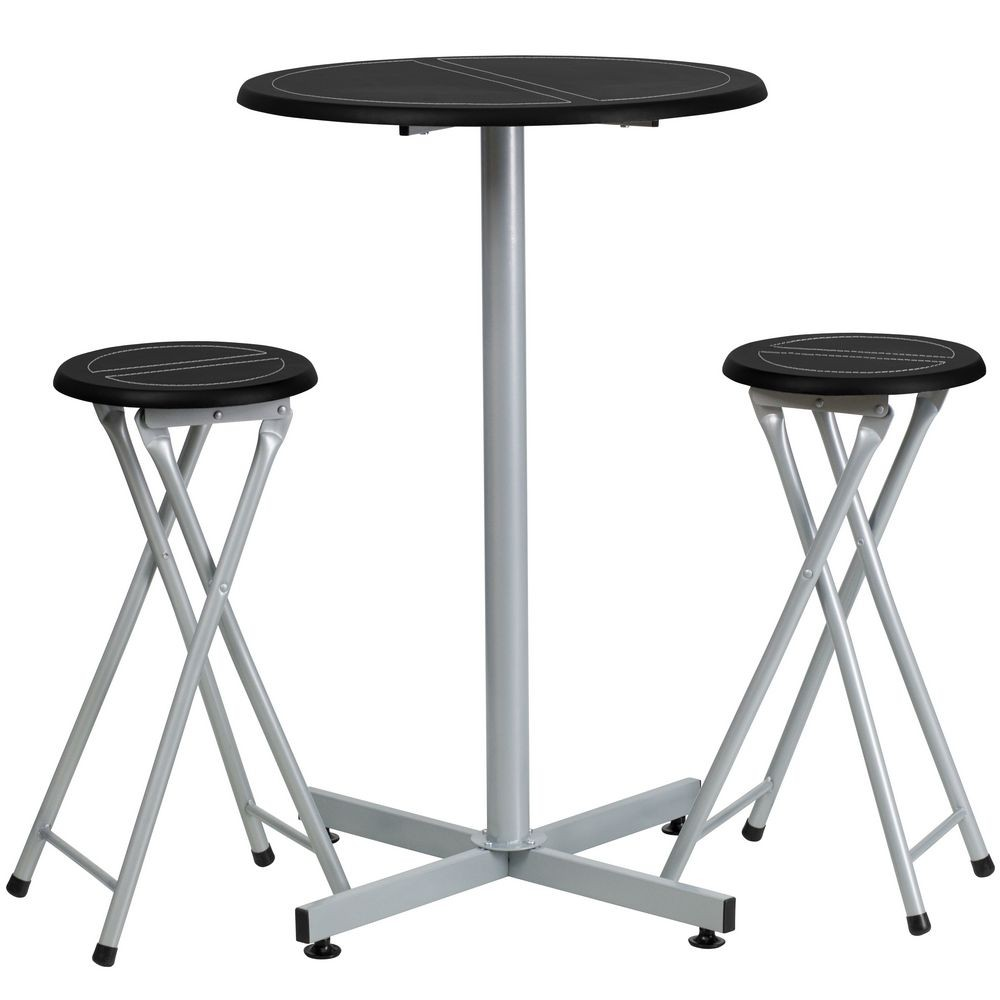 Flash Furniture YB-YJ987-GG Bar Height Table and Stool Set with White Stitch Insets