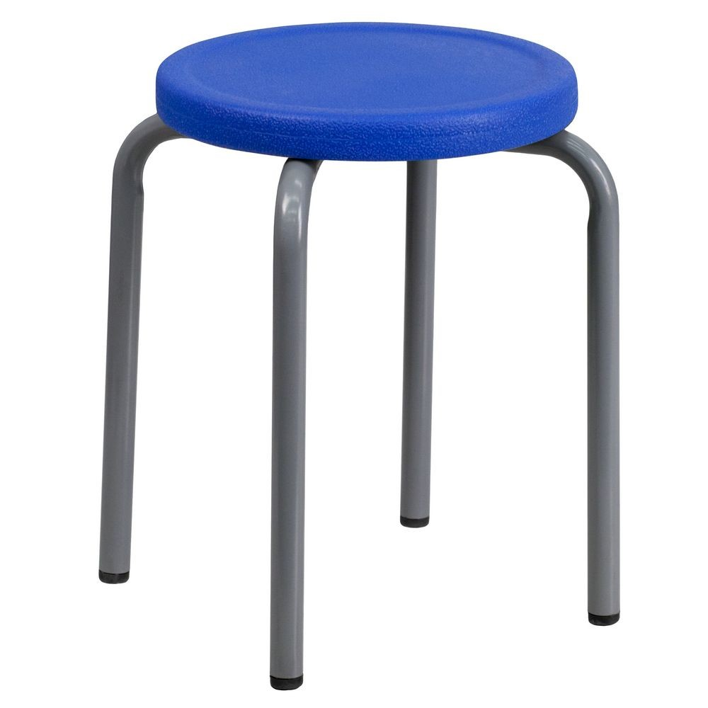 Flash Furniture YK01B-BL-GG Stackable Stool with Blue Seat and Silver Powder Coated Frame