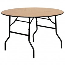 Flash Furniture YT-WRFT48-TBL-GG Round Wood Folding Banquet Table with Clear Coated Finished Top 48
