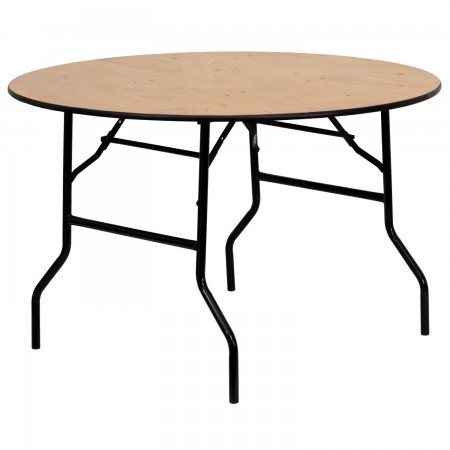 Flash Furniture YT-WRFT48-TBL-GG Round Wood Folding Banquet Table with Clear Coated Finished Top 48""
