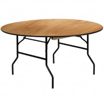 Flash Furniture YT-WRFT60-TBL-GG 60'' Round Wood Folding Banquet Table with Clear Coated Finished Top