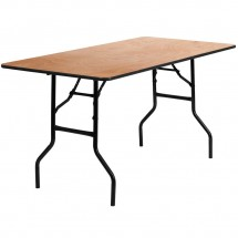 "Flash Furniture YT-WTFT30X60-TBL-GG Rectangular Wood Folding Banquet Table with Clear Coated Finished Top 30"" x 60"""
