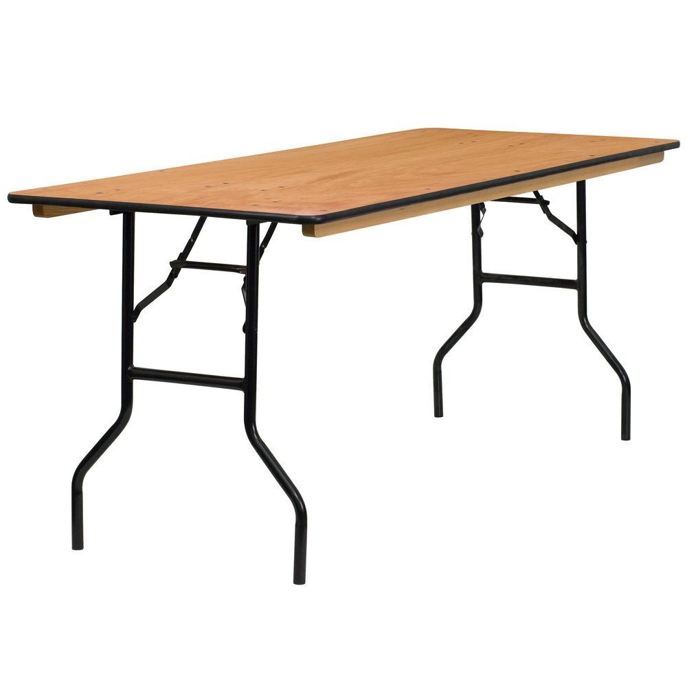 "Flash Furniture YT-WTFT30X72-TBL-GG Rectangular Wood Folding Banquet Table with Clear Coated Finished Top 30"" x 72"""