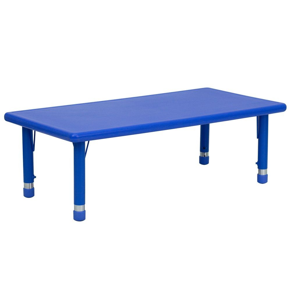 "Flash Furniture YU-YCX-001-2-RECT-TBL-BLUE-GG Height Adjustable Kids Rectangular Blue Plastic Kids Activity Table 24"" x 48"""