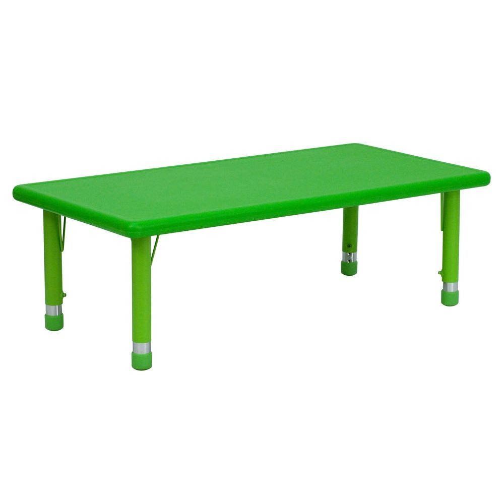 "Flash Furniture YU-YCX-001-2-RECT-TBL-GREEN-GG Height Adjustable Rectangular Green Plastic Kids Activity Table 24"" x 48"""