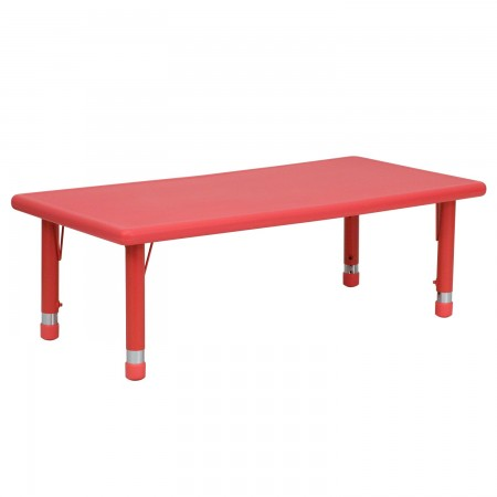 "Flash Furniture YU-YCX-001-2-RECT-TBL-RED-GG Height Adjustable Rectangular Red Plastic Kids Activity Table 24"" x 48"""